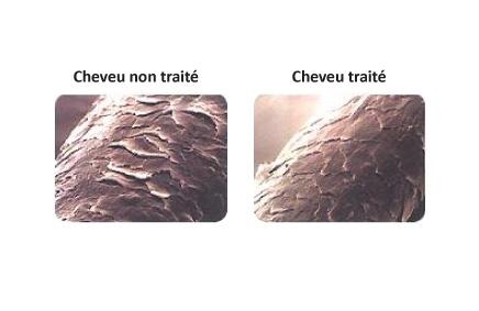 Images obtenues par la MEB avant et après traitement du cheveu
